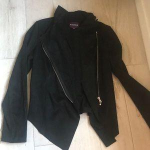 Black faux suede jacket raw hem